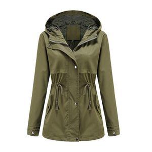 Damen-Taillen-Outdoor-Regenjacke mit Kapuze mit Reißverschluss-Hoodie,Farbe: Armeegrün,Größe:L