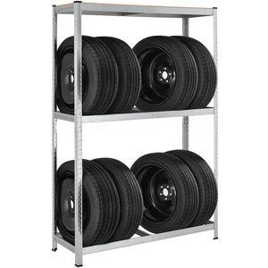 Juskys Metall Reifenregal Drive   8 Reifen   180 x 117 x 40 cm   1 Boden aus MDF Holz max. 200 kg   Reifenständer Werkstattregal Lagerregal