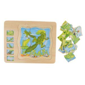 Holzpuzzle Frosch Tier Schichtenpuzzle Spielzeug zur trainieren Geschicklichkeit und Form- und Farberkennung der Kinder