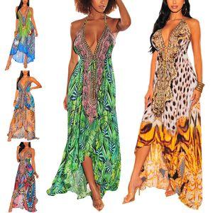 y Damenkleid Mit V-Ausschnitt Und Strumpfrock Am Meer,Farbe: Hellgrün,Größe:XL