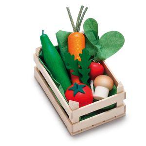 Erzi Sortiment in der Holzsteige Gemüse, klein, Spielzeug-Lebensmittel, Kaufladenzubehör