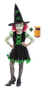 Hexe Zombi grün schwarz Halloween mit Schminke Größe: 140-152