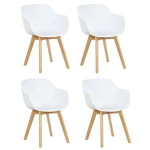 IPOTIUS 4er Set Sessel Skandinavisch Wohnzimmerstuhl Modern Esszimmerstühle mit solide Buchenholz Bein, Retro Design Stuhl für Büro Lounge Küche, Weiß