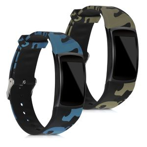 kwmobile Armband kompatibel mit Samsung Gear Fit2 / Gear Fit 2 Pro - 2x Silikon Fitnesstracker Sportarmband - Camouflage Schwarz Hellgrün Dunkelgrün