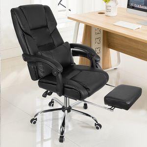Bürostuhl Schreibtischstuhl ergonomischer  Drehstuhl Chefsessel Gamingstuhl mit Fußstütze Schwarz