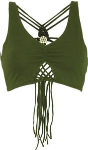 Goa Psytrance Bikini Top, Boho Top, Pixi Top, Fransentop - Olive, Damen, Grün, Elasthan,Baumwolle, Tops & T-Shirts