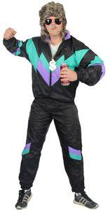80er Jahre Premium Trainingsanzug für Herren - schwarz lila grün, Größe:L