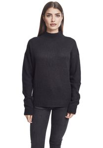 Urban Classics Damen Pullover Ladies Oversize Turtleneck Sweater Black-XS