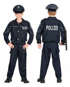 Streifenpolizist Kostüm für Kinder Blau zu Halloween und Fasching Größe: 5-7 Jahre