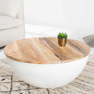 cagü: Industriedesign Couchtisch [PULIM] Natur aus Mangoholz und Metallkorpus Weiß 70cm Ø Rund