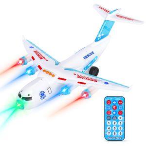 Flugzeugspielzeug mit attraktiven LED-Blinklichtern und Sounds   Spielzeugflugzeuge für Kinder im Alter von 3 - 12 Jahren (Weiß)