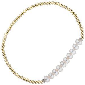 JOBO Armband 925 Silber gold vergoldet 10 Süßwasser Perlen Perlenarmband flexibel