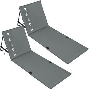 tectake 2 Strandmatten mit verstellbaren Lehnen - grau