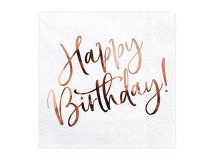 Servietten Happy Birthday 33x33cm 20 Stück, weiß / rosegold