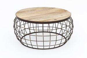 Design Couchtisch Korbtisch Draht Korb Tisch Beistelltisch Holztisch Metall Holz