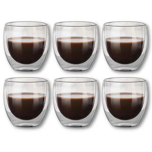 Kaffee Espresso Mokka Tassen Gläser 6 Stück 6er Set Premium Tee Dessert Glas Doppelwandige Thermogläser 80 ml Becher