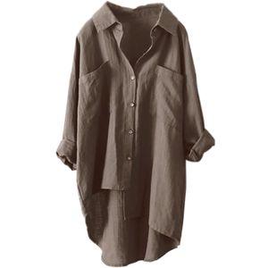 Damen Baumwolle Leinen Langarm Tasche Mittellanges Hemd T-Shirt,Farbe: Khaki,Größe:XL
