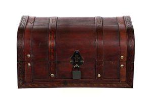 Truhe HD 86002-S Kiste MIT Schloss und 2 Schlüsseln Holztruhe abschließbar 30cm