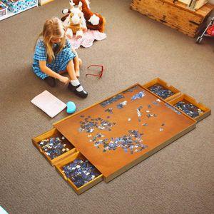 COSTWAY Puzzletisch mit 4 Schubladen, Puzzle Board Holz, mit ebener Arbeitsoberfläche, 80x65cm für Puzzles mit 1000-1500 Teilen