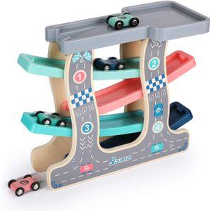 CYE Hlzerne Rennstrecke Rampenrennen Car Ramp Racer mit 4 Mini Autos Spielzeug fr Jungen Mdchen Kleinkinder 1 2 3+ Jahre alte