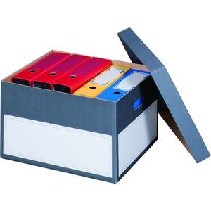 5 x Archivboxen Archivschachteln Ordnerkartons mit Deckel für bis zu 5 Ordner (max. 75 mm) in edlem Anthrazit