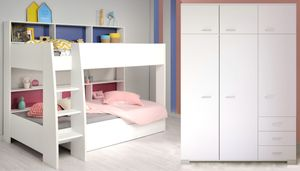 Kinderzimmer Tamina 12 weiß Etagenbett mit Schubkasten Kleiderschrank