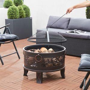 Gardebruk Feuerstelle Feuerschale Rund Ø 67 cm Stahl Funkenschutz Feuerkorb Grillfeuer Feuer Garten Terrasse Antik Rost