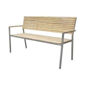 Garden Pleasure Bank DENVER 3-Sitzer Edelstahl 304 gebürstet / Teak100% 304771