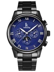 Alienwork Herren Damen mechanische Automatik-Uhr schwarz mit Edelstahl Metallarmband Kalender blau