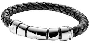 Police Unisex Leder-Armband Throttle PJ24691BLB-01-L 20 cm schwarz