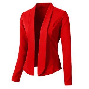 Damen Blazer Tops Langarm Jacke Damen Office Wear Cardigan Coat Größe:M,Farbe:Rot