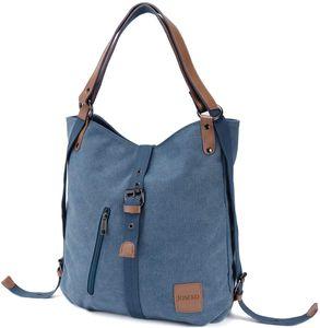 Canvas Tasche, Damen Rucksack Handtasche Vintage Umhängentasche Anti Diebstahl Hobotasche für Alltag Büro Schule Ausflug Einkauf Blau