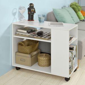 SoBuy® Beistelltisch in weiß,Couchtisch,Nachttisch,mit Rollen,FBT34-W