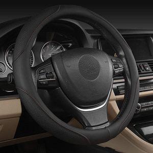 Universal Auto Lenkradhülle Lenkrad Abdeckung Lenkradbezug aus Mikrofaser Leder 38CM Hand nähen Spleißen Lenkrad Abdeckung-Rutschfest-Bequem-Weich (Schwarz)