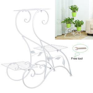 Sunnyme 3 Stufen Pflanzenständer Blumentreppe Pflanzregal Blumenständer Garten Metall Farbe: Weiß