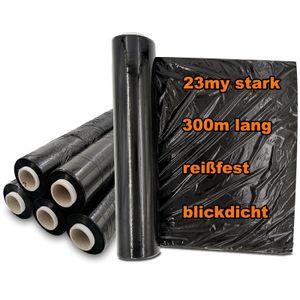 Verpacking Stretchfolie 23 my schwarz 500mm x 300m 6 Rollen reißfeste blickdichte Umzugsfolie