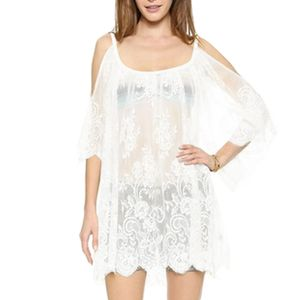 Frauen Spitze Häkeln Schulterfrei Strand Badebekleidung kittel Weiß XL