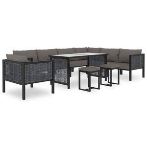 10-TLG. Garten-Lounge-Set Gartenmöbel-Set Sitzgruppe mit Auflagen Poly Rattan Anthrazit Balkon-/Garten-/Lounge-Set für 10-12 Personen☆7837