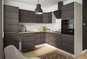 Küchenblock L-Form 270x242cm grau / fino schwarz Küche Komplett Modern Küchenzeile