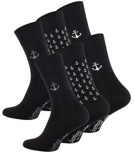 Clark Crown® BAMBUS Socken 6 Paar, Edel & Modern 39-42 Ankerdesign