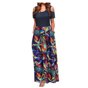 Frauen Sommer kalte Schulter Blumendruck Elegantes Maxi Langes Kleid Taschenkleid Größe:XL,Farbe:Lila