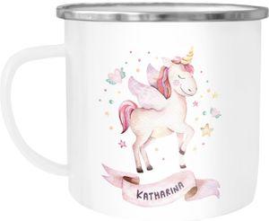 Emaille-Tasse mit Namen Einhorn Motiv Emaille-Becher personalisierte Geschenke Namensbecher Unicorn SpecialMe® weiß-metall Emailletasse