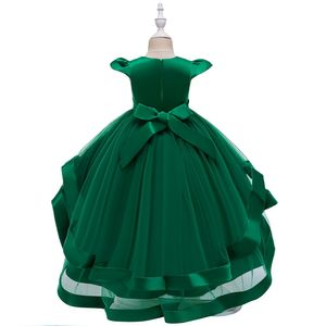 Kinder Partykleid Blumenmädchen Tüll Prinzessin Tutu Spitzen Hochzeit Abendkleid, Grün, 7-8 Jahre
