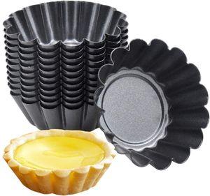 12 Stücke Torteletts Törtchenformen Tartelette Förmchen 7.5Cm Mini Tarteform Kohlenstoffstahl Eierkuchenform(schwarz)