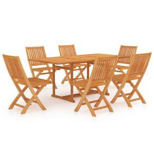 Gartenmöbel Essgruppe 6 Personen ,7-TLG. Terrassenmöbel Balkonset Sitzgruppe: Tisch mit 6 Stühle, Massivholz Teak❀8331