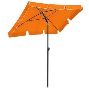 SONGMICS Sonnenschirm 200 x 125 cm, UV-Schutz bis UPF 50+, Gartenschirm, knickbar, Schirmtuch mit PA-Beschichtung, ohne Ständer, orange GPU25OG