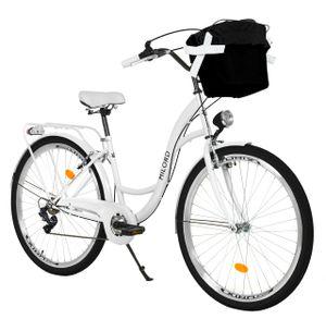 Milord Komfort Fahrrad Mit Korb Damenfahrrad, 26 Zoll, Weiss, 7 Gang Shimano