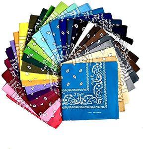 24 Stück Bandana Kopftuch Halstuch Nickituch Biker Tuch Motorad Tuch verschied. Farben Paisley Muster, Zufällige Farbe
