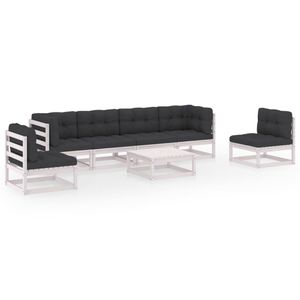 [Eleganter] 7-tlg. Garten-Lounge-Set Mit Tisch Gartengarnitur für 6 Personen|Neues Gartenmöbel-Set Balkonmöbel Sitzgruppe mit Kissen Kiefer Massivholz✅5643