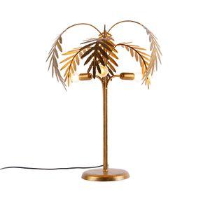 QAZQA - Landhaus | Vintage Art Deco Tischlampe Gold | Messing 3-Licht - Botanica | Wohnzimmer | Schlafzimmer - Stahl Organisch - LED geeignet E14